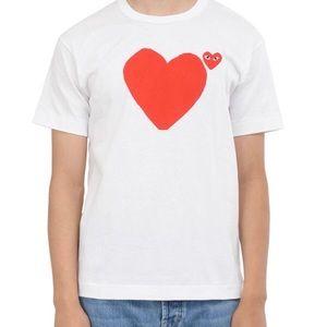 Comme Des Garçon Play Mens T-shirt White/Red L